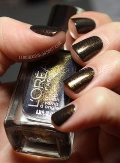 L'Oreal Owl's Night, Added later: after wearing this for a week, I LOVE the color (a brown with subtle olive, gold, and russet sparkle)....but I don't think I've ever worn a nail polish that chips off so easily. Boo.