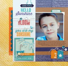 """Hello Sunshine Layout and Tutorial by Jen Gallacher for the Scrapbook Expo """"Weekly Scrapper"""" blog"""