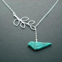genuine turquoise bird lariat sterling silver