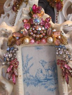 Ornate PInk and White Jeweled Frame