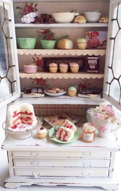 Miniature Vintage Bakery Hutch  by CynthiasCottageShop on Etsy
