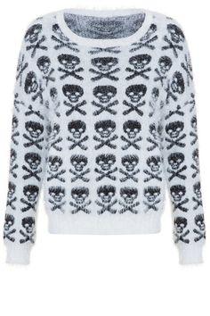 #white #fluffy #jumper #skulls #print #TALLYWEiJL #musthave http://www.tally-weijl.net/p/clothing/weisser-pullover-mit-schwarzen-totenkopf-muster/spunymorgan-bgeblk003?categoryId=21606