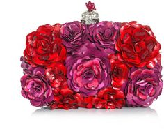 Alexander Mcqueen Metal flower and skull clutch