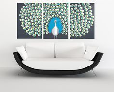 "Peacock Wall Art | Peacock wall art 250 Swarovski crystals - HUGE peacock painting ""Shine ..."