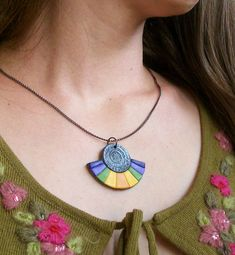 Fan necklace Aztec Rainbow colorful semi-circle polymer clay pendant dark silver purple violet olive green sunny yellow orange pendant
