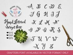 Hand Lettered Script Vectot Font, Craft font SVG DXF EPS, Silhouette Font, Cricut Font, Script Font, Vector Font, Brush fonts, Vector