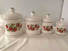 4 VINTAGE SEARS Kitchen Country STRAWBERRY CANISTER SET  Sugar Flour Tea JAPAN