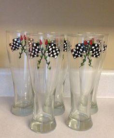 Hand Painted Race Day Pilsner Glass by IsbellCreations on Etsy, $10.00