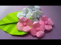 折り紙 「あじさい」の折り方 How to make origami hydrangea