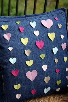Felt Hearts Pillow