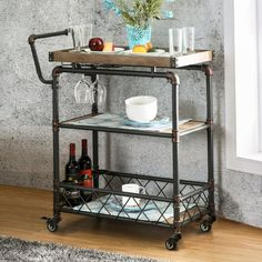 Shop for Carbon Loft Guppy Industrial Bar Cart Wine Rack & Serving Table. Get free delivery On EVERYTHING* Overstock - Your Online Furniture Shop! Get in rewards with Club O! Metal Bar Cart, Diy Bar Cart, Gold Bar Cart, Bar Cart Decor, Bar Carts, Bar Trolley, Industrial Bar Cart, Industrial Chic, Industrial Bathroom