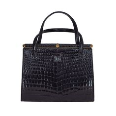 Lucille de Paris large crocodile frame bag 1950s