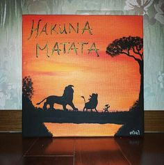 I took the log silhouette and combined it with the other pins (description showing what I actually took from the specific pin) onto a canvas. Disney Canvas Paintings, Disney Canvas Art, Disney Art, Disney Pixar, King Painting, Painting & Drawing, Pinturas Disney, Silhouette Painting, Le Roi Lion