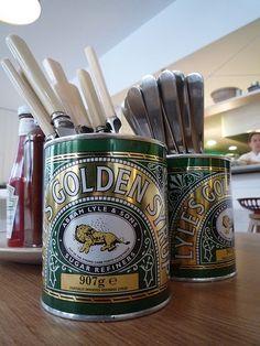 cutlery holder--old tea tins Kitchen Utensil Organiser, Cutlery Storage, Kitchen Organisation, Cutlery Holder, Vintage Tea Rooms, Pots, Vintage Cutlery, Pub Decor, Kitchen Colour Schemes