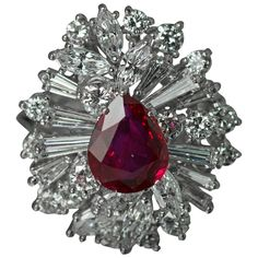 Platinum Ruby Ring   See more rare vintage More Rings at https://www.1stdibs.com/jewelry/rings/more-rings