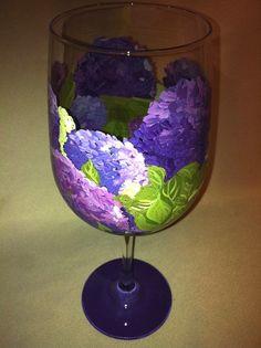 Purple Hydrangea Wine Glass by thepaintedflower on Etsy