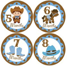 baby month milestone stickers No.63 cowboy boy by digitaldoodlebug
