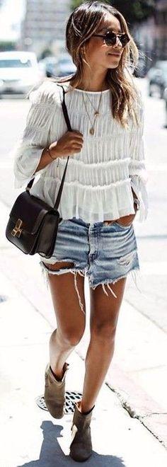 #summer #warm #weather #outfit #ideas   White + Denim