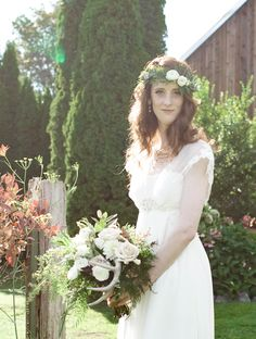 Beautiful antler flower bouquet and flower crown made by Flower Lab in Seattle, WA. Venue is Sidetrack Distillery in Kent, WA. Wedding ideas! Deer themed wedding, bohemian, unique, wild, woodland. Deer Wedding, Wedding Flowers, Wedding Dresses, Wedding Planning, Wedding Ideas, Distillery, Flower Crown, Special Day, Lazy