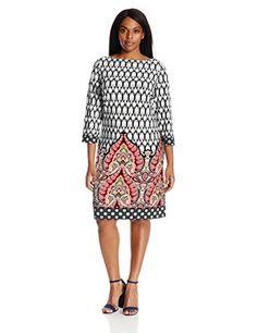 9bdaf91df7cd8f Women s Printed 3 4 Sleeve Jersey Shift Dress Western Wear For Women