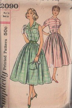 Simplicity 2090 Vintage 50's Sewing Pattern BEAUTIFUL Rockabilly Cocktail Party Step In Buttoned Band Summer Day Dress, Full Pleated Flared Skirt, Puff Sleeve Party Gown