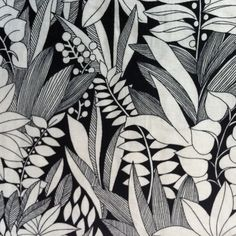 Gordijn jungleprint zwart-wit (vintage)