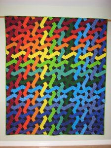 Sara Silver's X-Block quilt textile art Modern Quilt Blocks, Block Quilt, Modern Quilting, Quilting Projects, Quilting Designs, Sewing Projects, Pattern Blocks, Quilt Patterns, Rainbow Quilt