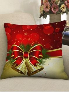 Christmas Decoration Bowknot Bell Printed Pillow Case - RED - W18 X L18 INCH