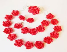 Polimer Clay jewelry  red set roses by Monybijoux on Etsy