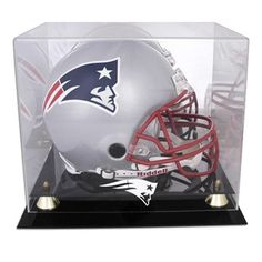 New Tom Brady New England Patriots Glass and Mirror Mini Helmet Display Case