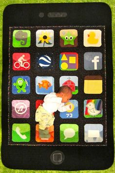 """""""There's a nap for that"""" -- iPhone Baby Quilt by Harriet Rosin for her grandson Gabriel"""