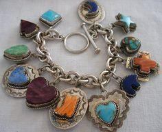 Vintage Joan Slifka Southwest Sterling Turquoise Spiny Charm Bracelet Signed