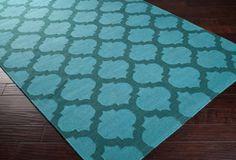 One Kings Lane - Mod & Pop - Laurel Rug, Teal Green/Sea Blue