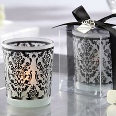 Damask print votive candle favor from Kate Aspen  #home #decor #black #white