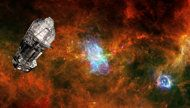 This artist's illustration shows the European Space Agency's infrared Herschel Space Obsevatory set against a background image of the Vela C star-forming region. The space telescope launche din 2009 and ended its mission in 2013.