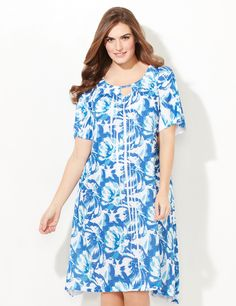 Watercolor Floral Print Sleep Gown | Catherines  Treat Mom to comfort. Bright sublimation brushed florals blend together on this soft and silky sleep gown. Intricate folds cascade from the scoop neckline, which features a cutout detail. Fluttering fabric creates a feminine upper sleeve. Side pockets. Two-point hem. For your comfort, Catherines sleepwear has been made specifically for the plus size figure. #catherinesplus #plussize #plussizefashion #sleepwear