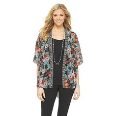 Women's Kimono Jacket w/Lace Detail - Black Rainn
