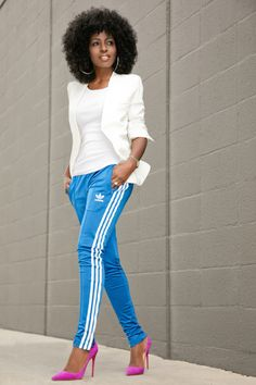 White Blazer + Tank + Adidas Track Pants Style Pantry waysify