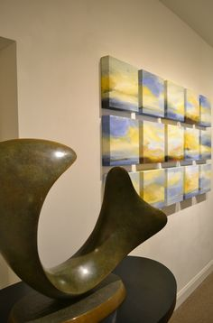 """Here's a sneak peak of our June exhibition """"Elements in Motion"""" featuring the dynamic works of sculptor, Richard Erdman, and painter, Kathy Buist. #bosarts #contemporaryart #Summer #newburyst #Boston #art"""