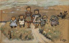 Heinrich Zille, Kindergruppe. 1903. Farbige Kreiden, Aquarell und Deckweiß auf braunem Papier. 27,9 x 44,1 cm.