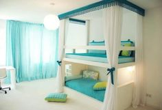 Teenage Girl Bedroom Ideas #Bunk #Beds #Rooms #Design #Decor #Home. The colors: lime green, tourquouse blue and white go great together!