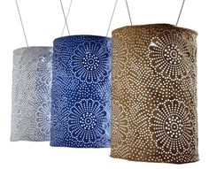 Dress up your porch or patio with our Stella Solar Luminaries. They make beautiful patterns with sunlight  or moonlight.