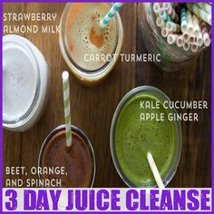 Juice Cleanse: carrot tumeric, kale cucumber apple ginger, beet orange spinach, strawberry almond milk // What's Gaby Cooking Smoothie Detox, Juice Smoothie, Smoothie Drinks, Smoothie Recipes, Detox Drinks, Detox Juices, 3 Day Juice Cleanse, Juice Cleanse Recipes, Juicer Recipes