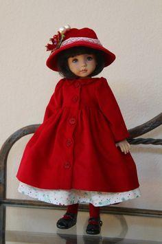 "Crimson Christmas~ OOAK Outfit for Effner 13"" Little Darling ~ Glorias Garden"