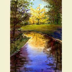 Árboles de otoño de acuarela paisaje pintura por derekcollins