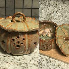 Ceramic handbuilt garlic keeper