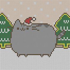 Pusheen Christmas Cross Stitch Patterns, two sizes. Free PDF Download