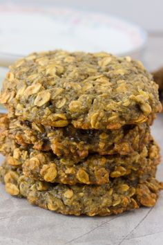 Banana Chia Breakfast Cookies. I would make these with less sugar so they're more breakfast less cookie