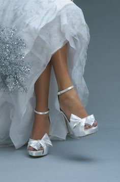 Sexy yet romantic platform wedding shoes with bow.  Great for bride or bridesmaids.