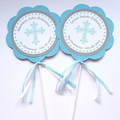 Light Blue Boy Baptism Christening Centerpieces by ThePrettyPartyShoppe on Etsy, $10.00